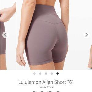 """Lululemon align short 6"""" lunar rock"""